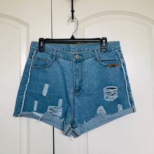 SHEIN distressed jean shorts